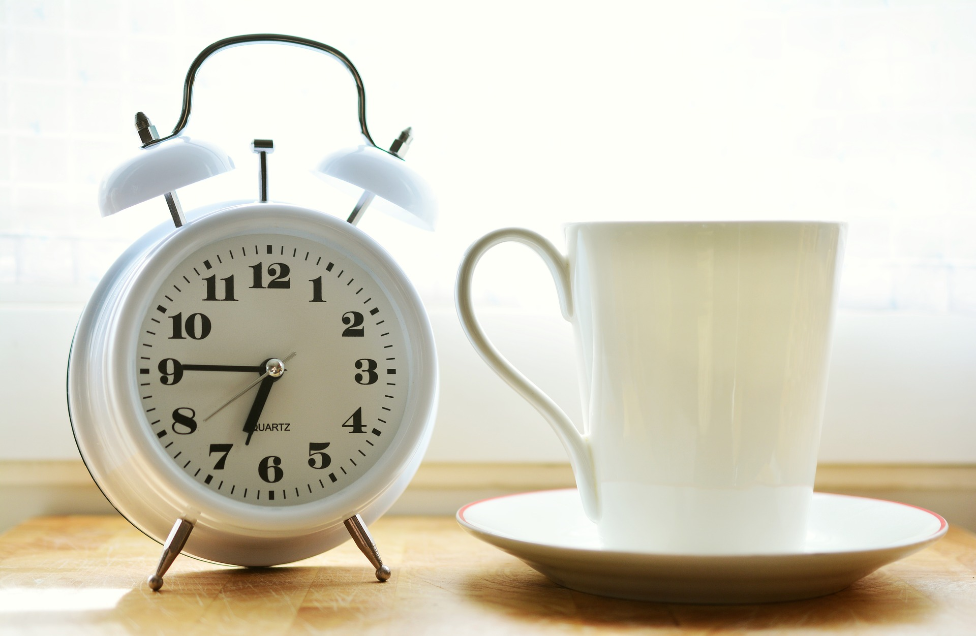 Clock and coffee cup and saucer