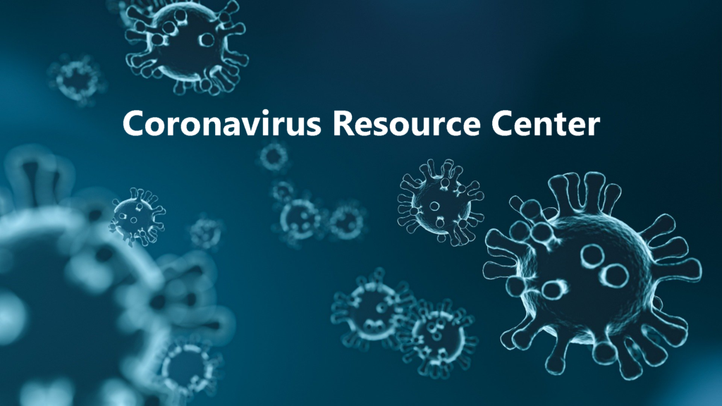 Coronavirus cell image and text